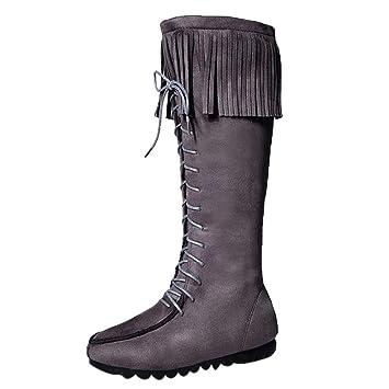 LuckyGirls Botas Muslo de Caña Alta para Mujer Zapatos con Cordones Flecos
