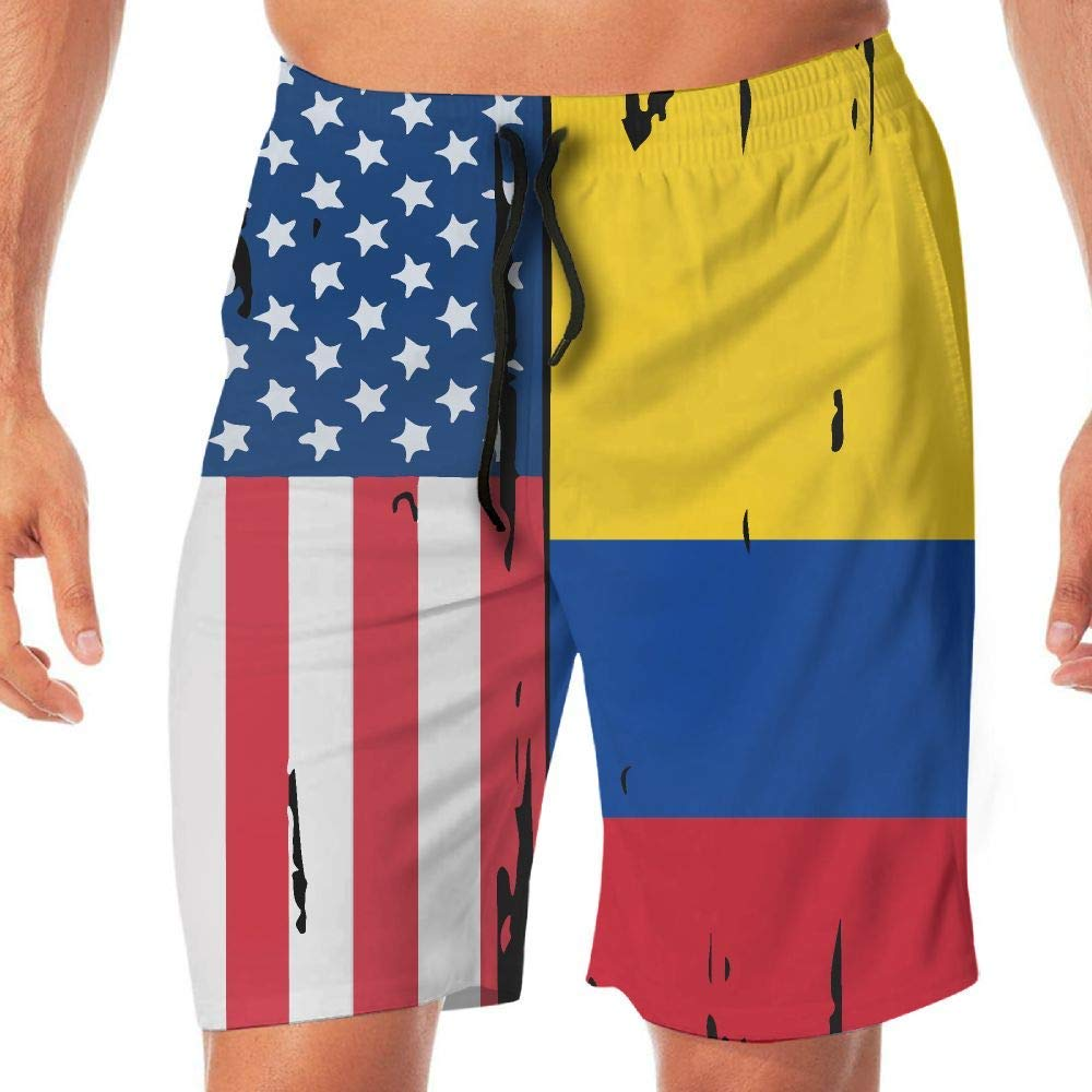 Mens Workout Shorts American Colombia Flag Lightweight Beach Board Short Adults Boys