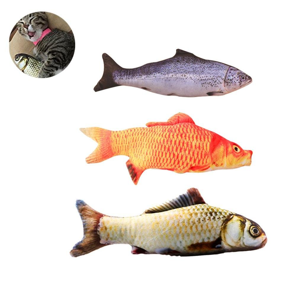 Chew Bite Kick Supplies for Cat Kitten Kitty LEEGOAL Simulation Fish Pillow Plush Cat Interactive Toys Pack of 3 Catnip Toys for Cats