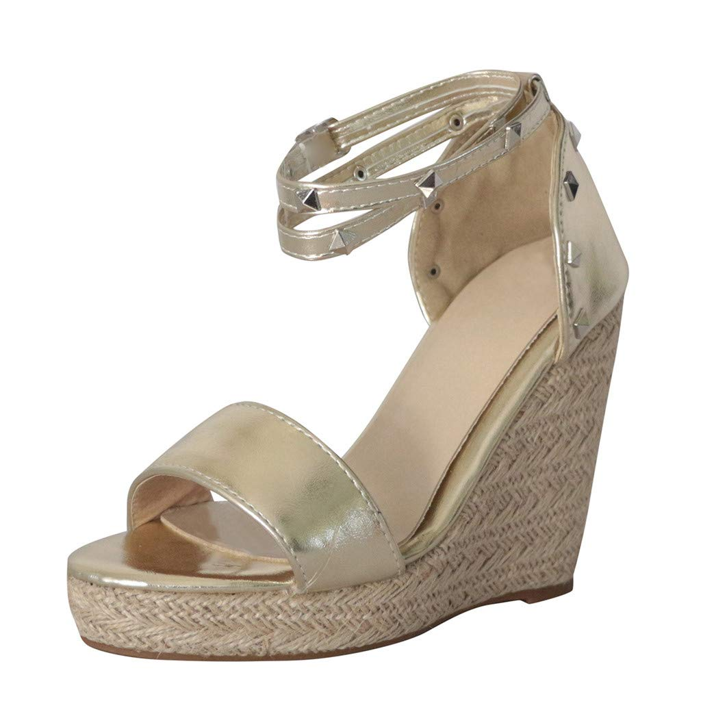 Orangeskycn Women Wedge Sandals Plus Size Summer Retro Fashion Open Toe Flat Shoes Rivet Leather Platform Roman Sandals Gold