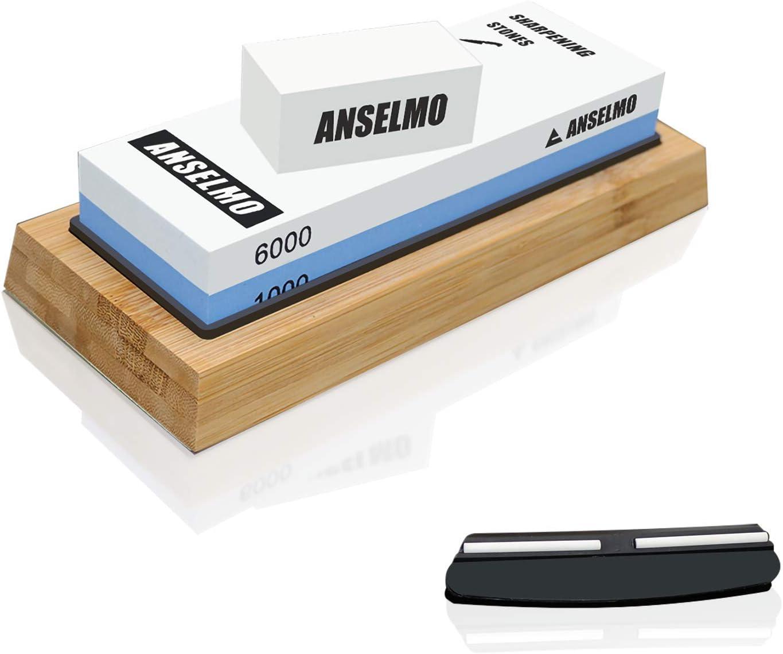 ANSELMO sharpening stones for Knife, Double Side Whetstone 1000/6000 Grit, Whetstone Sharpener Set for Home Kitchen, Hunting Knife and water stone,Whetstone Sharpener,NonSlip Bamboo Base & Angle Guide