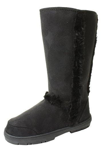 d9dc61d1c2391 Ladies Womans Festival Winter Snow Comfy Flat Ankle Knee Calf High Fur  Lined Hard Sole Biker