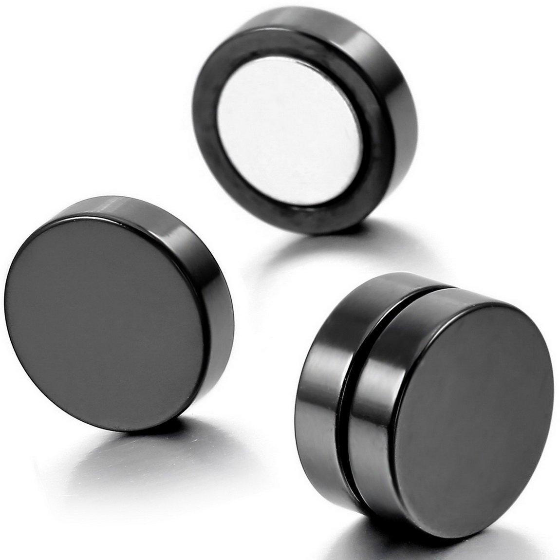 645561d19c9c UMtrade Hombres mujeres Acero inoxidable Magnético Aretes pendiente Redondo  No piercing 8 mm