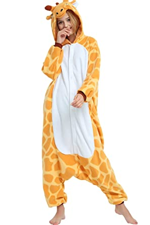 86b7fa428a68 Giraffe Onesie for Adults and Teens. Halloween Animal Kigurumi Pajama  Costume for Women