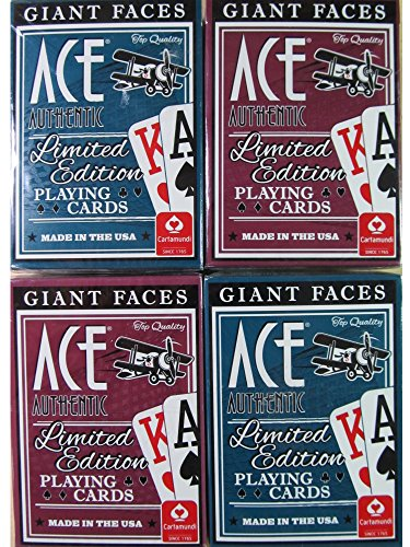 Giant Faces Ace Authentic Limited Edition Playing Cards (4 packs)