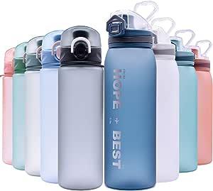 reutilizable con tapa a prueba de fugas para acampar yoga y aire libre gimnasio se abre con 1 clic Botella de agua deportiva correr 500ml /& 700ml y 1000ml-BPA Botella ecol/ógica de pl/ástico Tritan con filtro tapa abatible