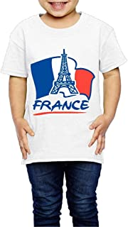 Wishesport Paris with French Flag 2-6 Years Old Kids Short Sleeve T Shirts