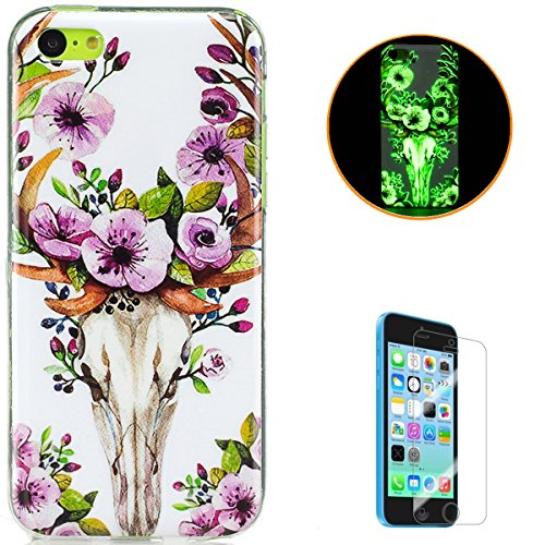 Silicone Soft TPU Floral Pattern Case for iPhone 5C (Green) - 4