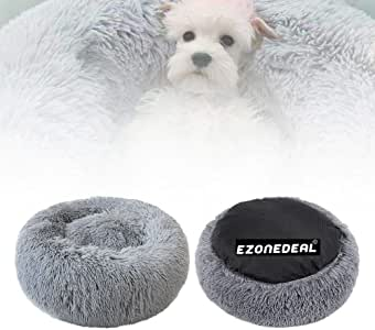 Ezonedeal Calming Bed for Dogs, Donut Cuddler Dog Bed Small Medium Large Orthopedic Pet Bed Self Warming Round Fluffy Plush Pillow Improved Sleep Cushion Bed Non-Slip Bottom (50 cm, Grey)