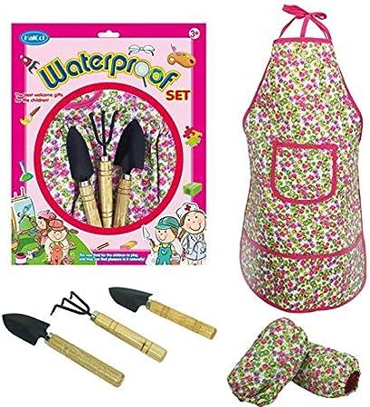 Pawaca juego de herramientas de jardín para niños, mini kit de jardinería con delantal impermeable, 2 mangas, 2 paletas y rastrillo, para niños cultivar plantas: Amazon.es: Hogar