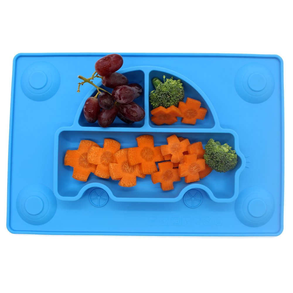 4 Suction Cups Dining table INNERNEED One-piece Silicone Placemat Feeding Plate Mat Tray for Baby Kid Blue Child Toddlers Highchair