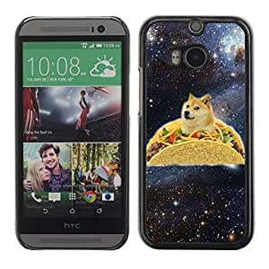 Colorful Printed Hard Protective Back Case Cover Shell Skin for All New HTC One (M8) ( Funny Taco Dog Meme Illustration Shiba )