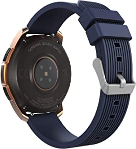 MoKo Band Compatible with Samsung Galaxy Watch 3 45mm/Galaxy Watch 46mm/Galaxy Gear S3 Classic/Frontier/Ticwatch pro 3/E2/S2/Huawei Watch GT 2 Pro/GT 2e 46mm, 22mm Silicone Strap - Midnight Blue