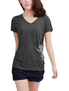 Allegra K Womens V Neck Short Sleeve Letters Front Tee Shirt