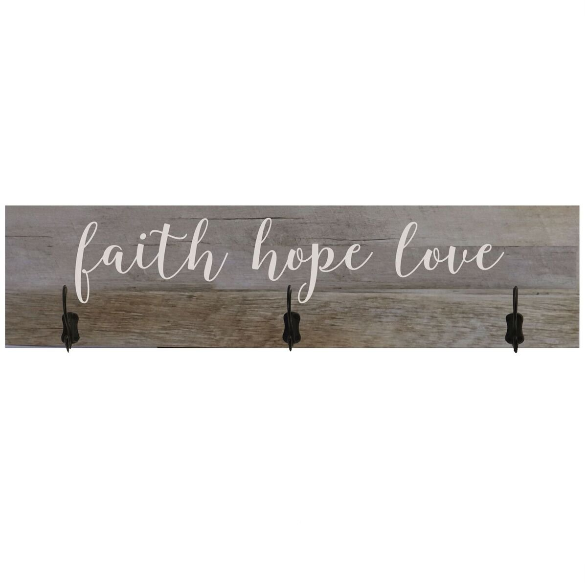 LifeSong Milestones Barnwood Coat Rack Faith Hope Love Wall Signs for Home, Wedding, Anniversary, Living Room, Entryway, Kitchen (Faith Hope Love)