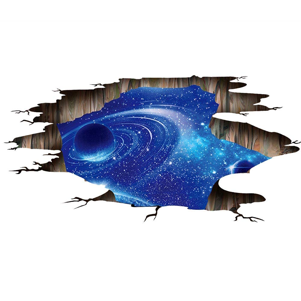 GULUDED Space Universe 3D Stereo Art Wall Sticker Wall Decal Home Decor Wall Poster Paper Murals Decal Removable Car Sticker Toilet Sticker Waterproof Living Room Bedroom Bathroom