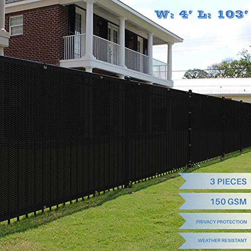 103' Screens (E&K Sunrise 4' x 103' Black Fence Privacy Screen, Commercial Outdoor Backyard Shade Windscreen Mesh Fabric 3 Years Warranty (Customized Sizes Available) - Set of 3)