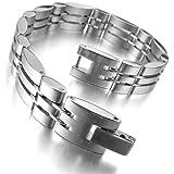 MunkiMix Acier Inoxydable Bracelet Lien Poignet d'Argent Or Deux Ton Homme