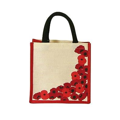 Gift Poppy design NEW  Jute Hessian Lunch Small Shopping Bag