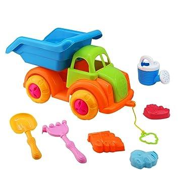 Akokie Juguetes Playa, Conjunto de Juguetes para Playa (Camión, Pala, Rastrillo, 3 Moldes) : Amazon.es: Juguetes y juegos