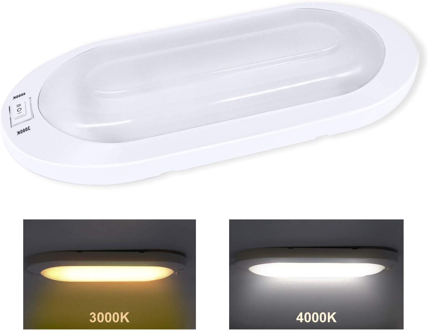 Facon 2pks LED Ceiling Light Interior Light with On//Off Switch 12V 4000K for Campervan Trailer Marine and Vehicle Motorhome Caravan Boat