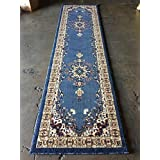 Traditional Long Runner Persian Rug Light Blue With Red Design #510 (31in.X14ft5in.)