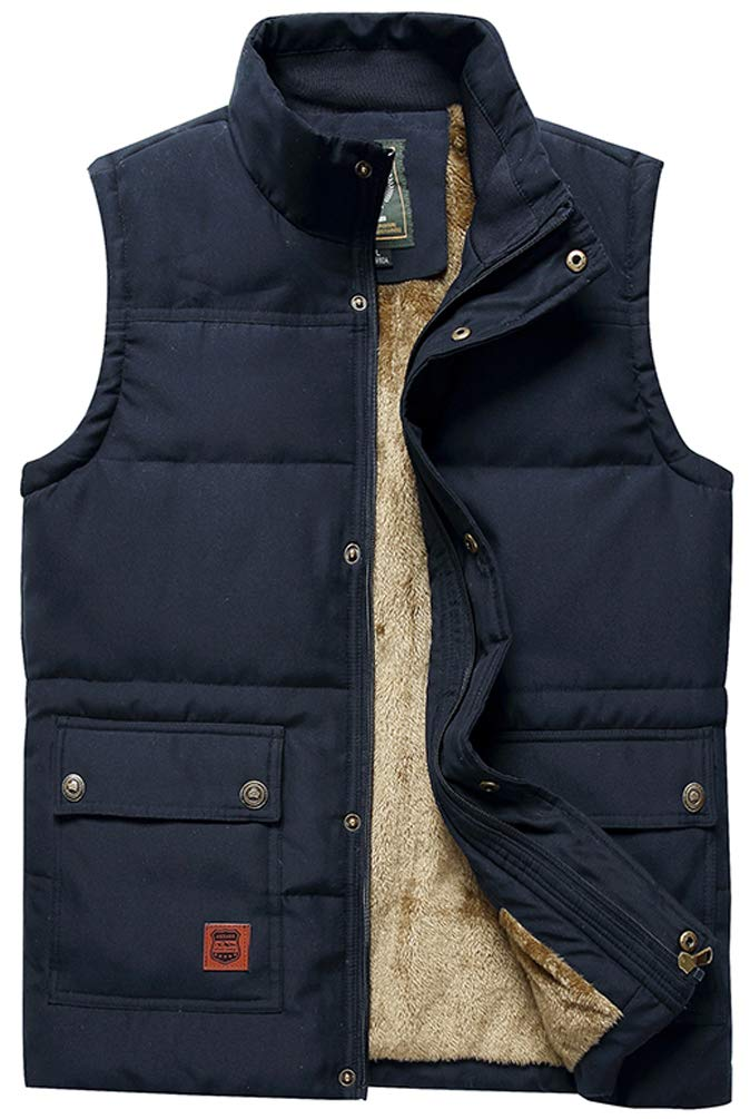 Vcansion Men's Outdoor Casual Stand Collar Thicken Qulited Fleece Jacket Vest Padded Vest Lightweight Down Cotton Vest Coat Blue US XL by Vcansion