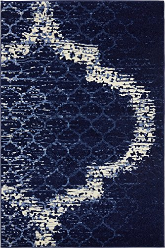 Elegance Collection Rugs - Unique Loom Trellis Collection Geometric Modern Navy Blue Area Rug (4' 0 x 6' 0)