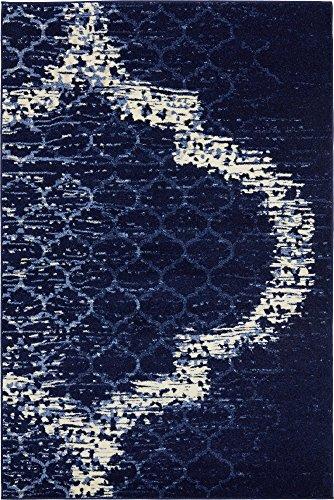 (Unique Loom Trellis Collection Geometric Modern Navy Blue Area Rug (4' 0 x 6' 0) )