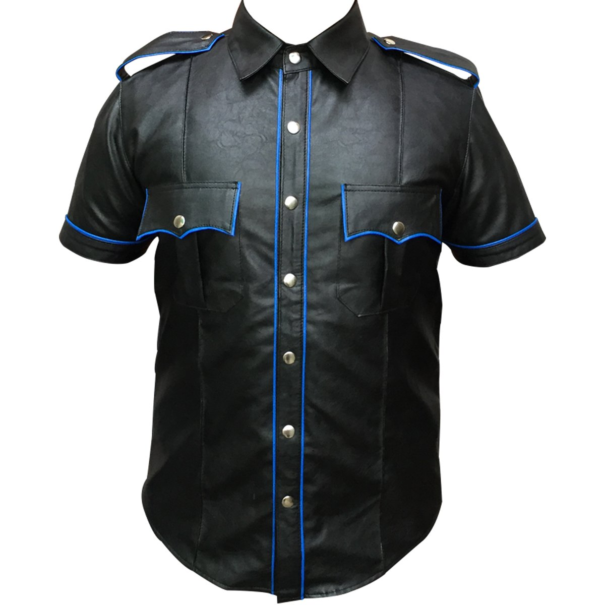 Pockets Cuffs PU Leather Mens Police Style Collar T Shirt with Blue Piping On Shoulders