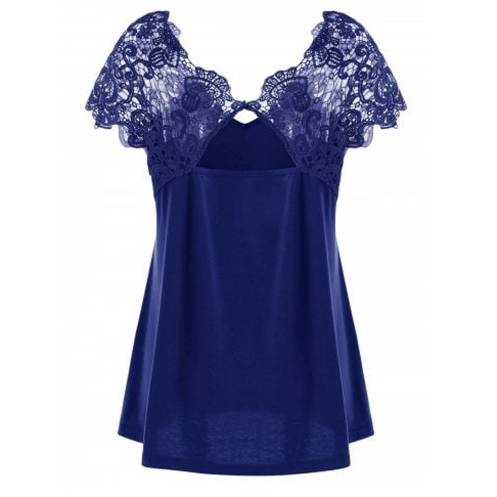 Women Short Sleeve Tunic Tops Plus Size Lace Splice Cut Back Sexy Casual Tank Blouse Tops (4XL, Blue)