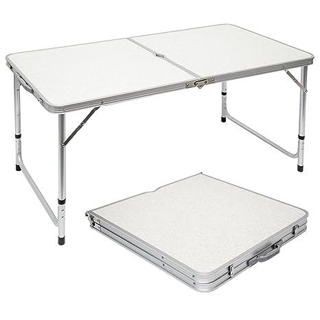Tavoli Pieghevoli Da Mare.Amanka Tavolino Da Pic Nic 120x60x70cm Tavolo Da Campeggio In Alluminio Altezza Regolabile Pieghevole Formato Valigia Grigio Chiaro