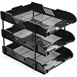 Ardisle Office Filing Trays Holder A4 Document Letter Paper Storage 3 Tiers Post In Out (Black)