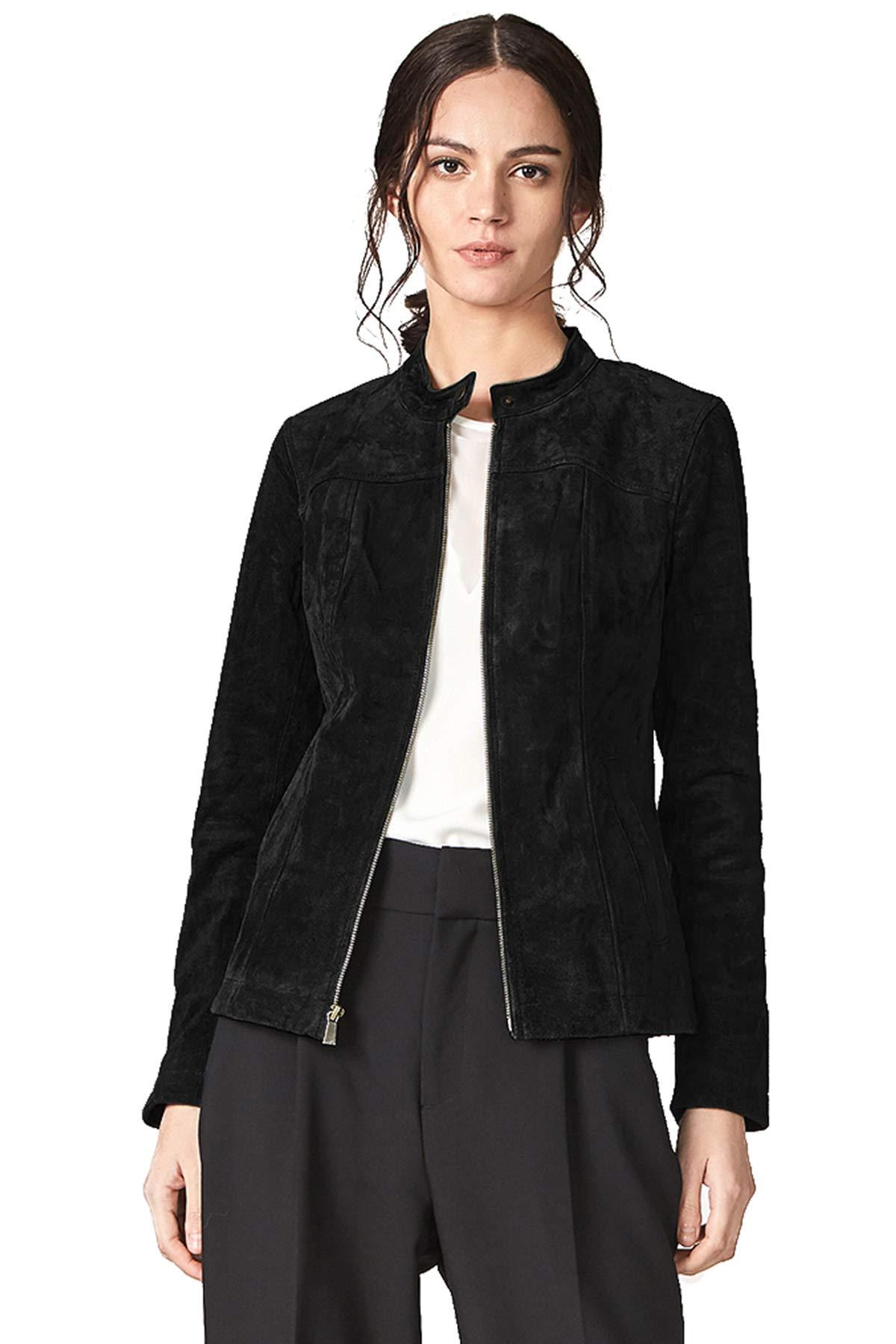 Escalier Women's Genuine Leather Zipper Suede Moto Jacket (6, Black 2)
