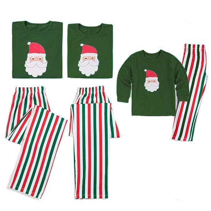 2PCS Christmas Family Matching Pajamas Set Santa Claus Print Top Stripe  Pants Pajamas Xmas PJs Sleepwear 9262924f5