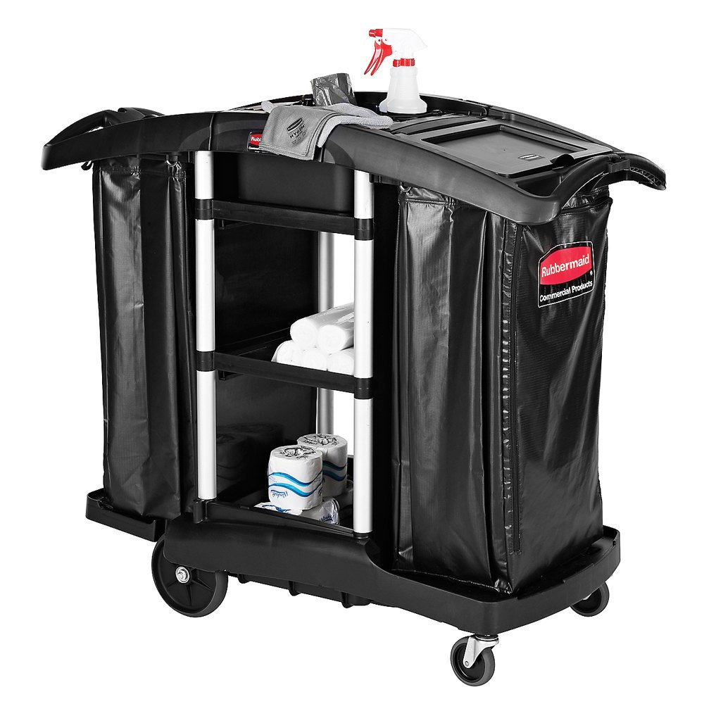 Rubbermaid 1861441BLACK Executive High Capacity Janitor / Recycling Cart with Bins