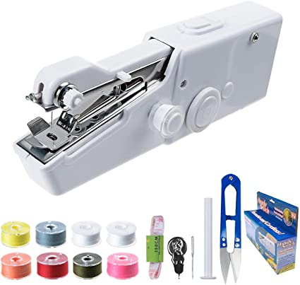 Cordless Small Handy Stitch Handheld Sewing Machine for Easy Quick Repairs Fabric Leather Denim Mini Hand Sewing Machine for Kids Beginners Home or Travel Sewing Portable Sewing Machine Handheld