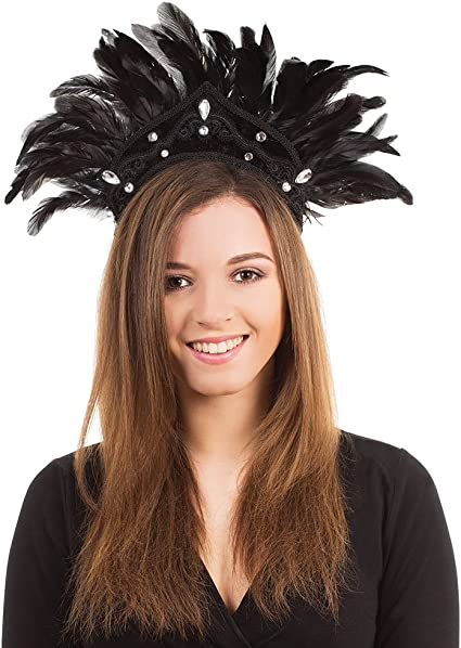 Feather Headdress Carnival Burlesque Show Girl Ladies Fancy Dress Accessory