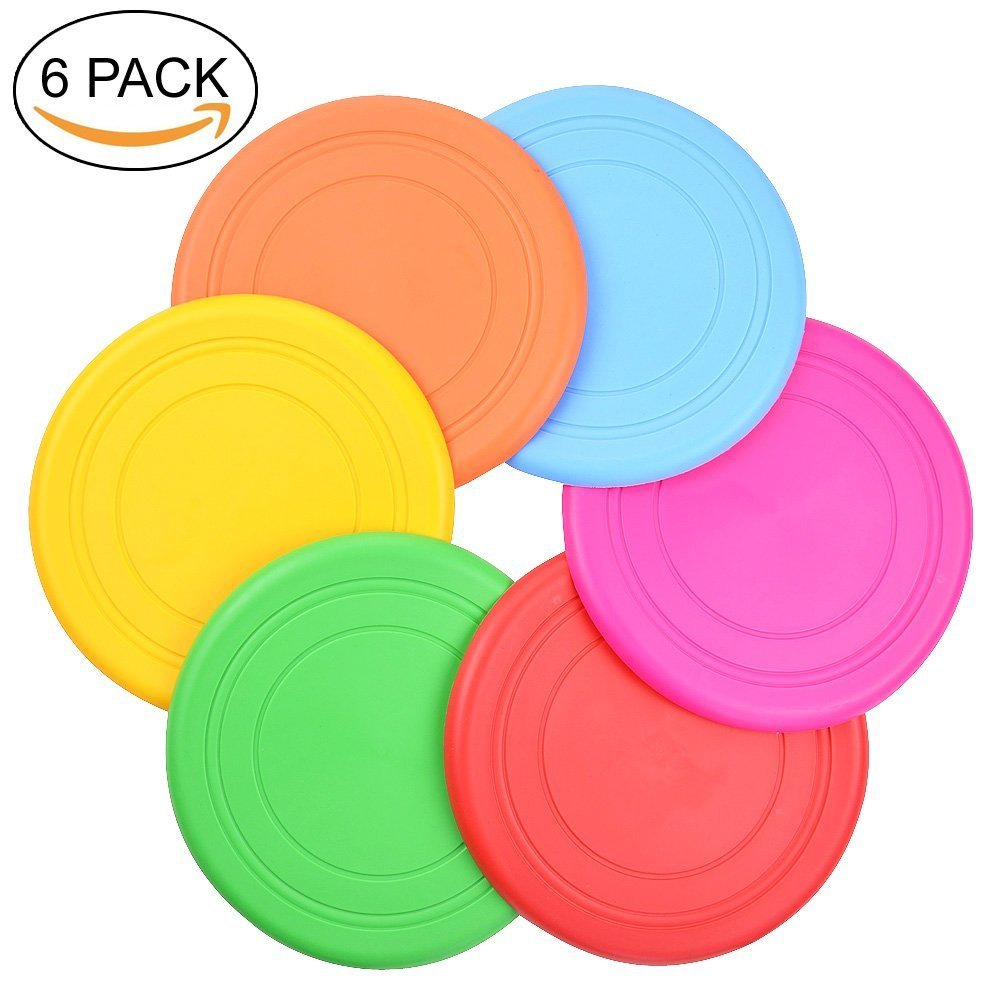 TEESUN Dog Frisbee Training Toys Flying Discs Flyer Silicone for Big Small Dogs Soft Tooth Resistant Rubber 6Pack (Red Blue Green Yellow Orange)