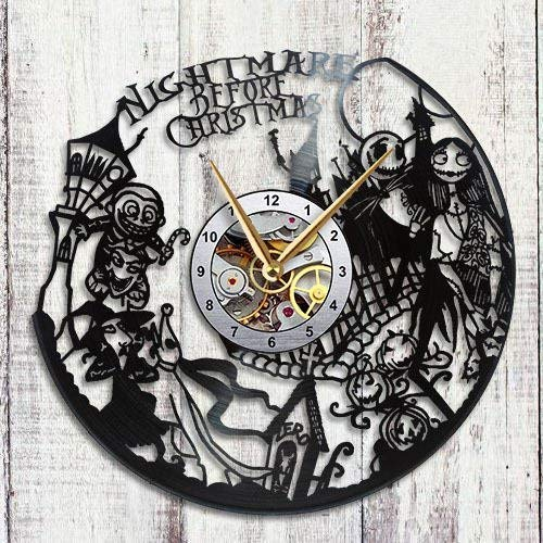 Home & Crafts Vinyl Record Wall Clock Nightmare Before Christmas Simply Skellington Jack Love Decor Unique Gift Living Room Ideas for Friends him her Boys Girls Space World Art Design]()