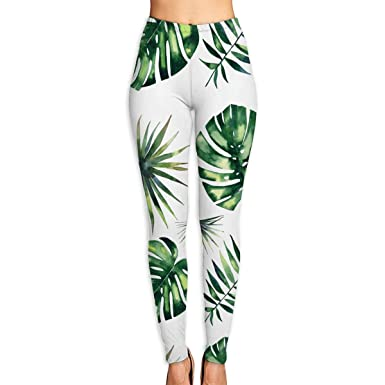 da483405ba285 Women's Yoga Pants Bright Beautiful Green Herbal Tropical Wonderful Hawaii  Floral Summer Pattern Of Sexy Sports at Amazon Women's Clothing store: