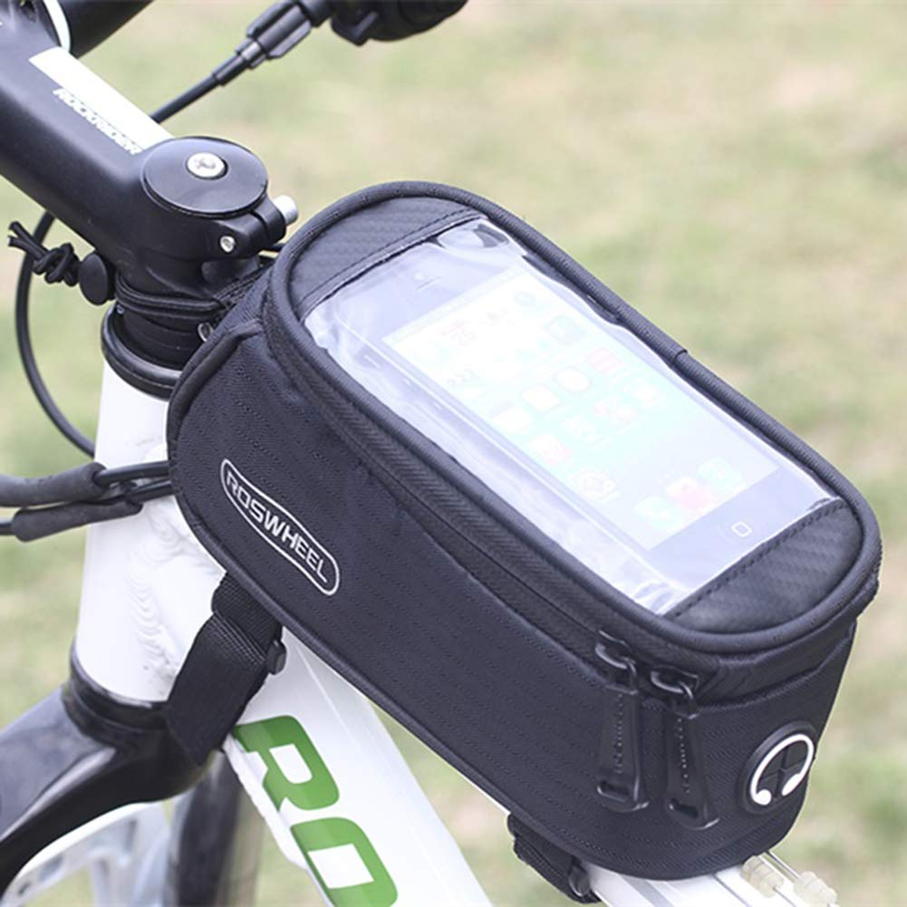 ROSWHEEL Bicycle Mobile Phone Pouch - Black for 5.5inch Phone 5.5 inch Touch Screen Top Frame Tube Storage Bag Cycling MTB Road Bike Basket Bicycle Accessories Phone Case 12496
