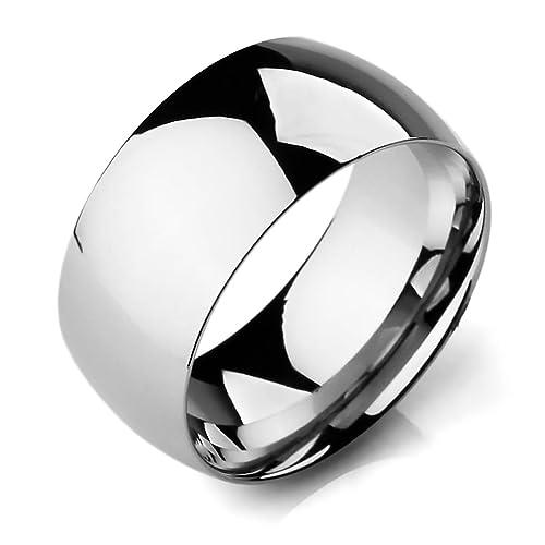 MunkiMix Ancho 10mm Acero Inoxidable Banda Venda Anillo Ring El Tono De Plata Alianzas Boda Talla