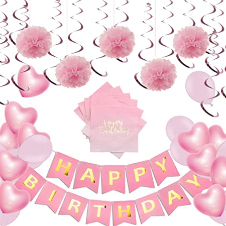 Decoraciones rosadas de feliz cumpleaños para niñas, kit de ...