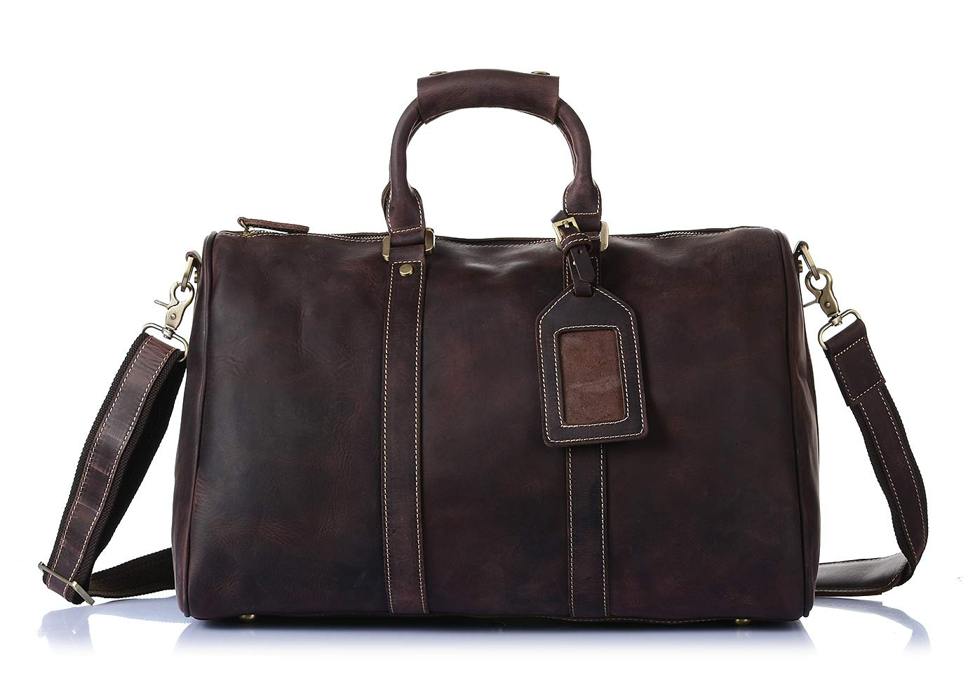 Leather Holdall Weekend Travel Overnight Cross Body Organiser Bag H8016 Brown