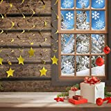 SATINIOR 190 Pieces 5 Sheets White Snowflakes Window Clings Decal Stickers and 60 Pieces Gold Hanging Star and Hanging Swirl Kit Christmas Winter Decorations Ornaments Party Supplies