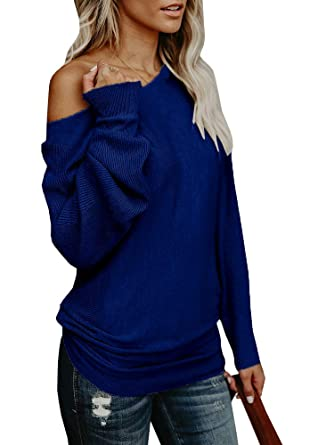 0cb2e0f84c93 Chuanqi Womens Sweaters Off The Shoulder Pullover Sweater Long ...