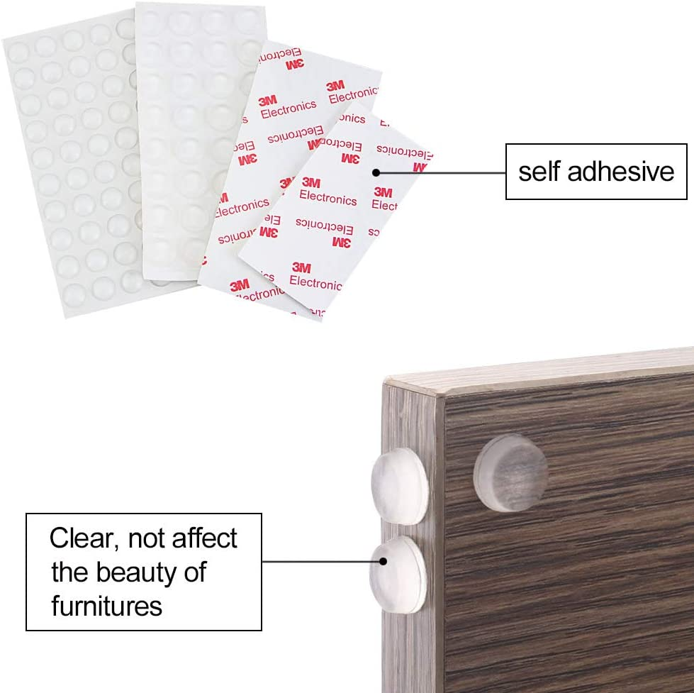 DECARETA 254 Pcs Rubber Feet Clear Silicone Bumper Pads Self Adhesive Bumper Feet for Door Cabinet Drawer 6 Sizes