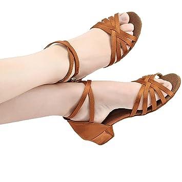 Wgwioo Frauen Latin Dance Schuhe Geschlossene Zeh Glitzer Leder Wildleder Salsa Tango Knöchel Strappy Gürtelschnalle Ballroom Sandalen Kinder Kinder Mädchen , Brown , 30