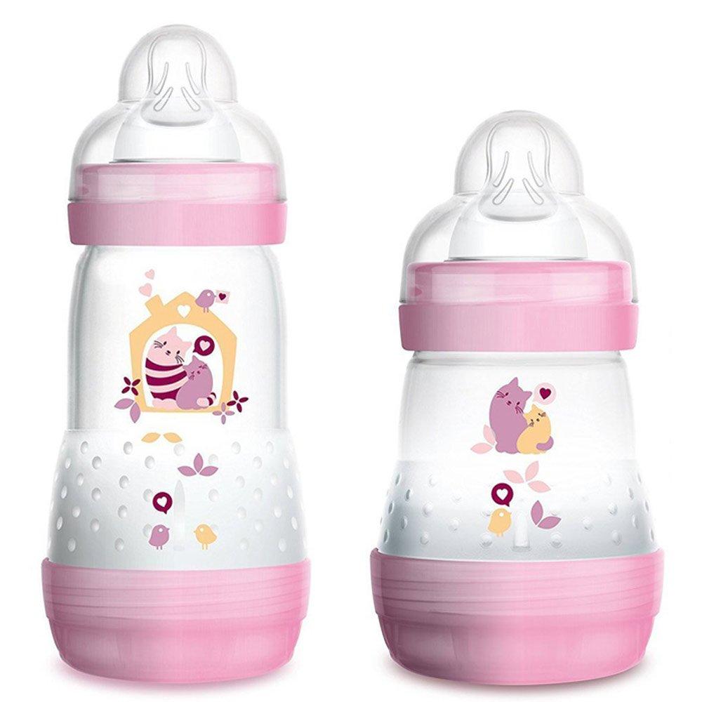 Mam Anti colic recién nacidos Juego de Pretty Girl//260 – Botella Cólicos 2 Stk. & mam Skin Soft Silicona Chupete 2 Stk. + nip Chupete banda +